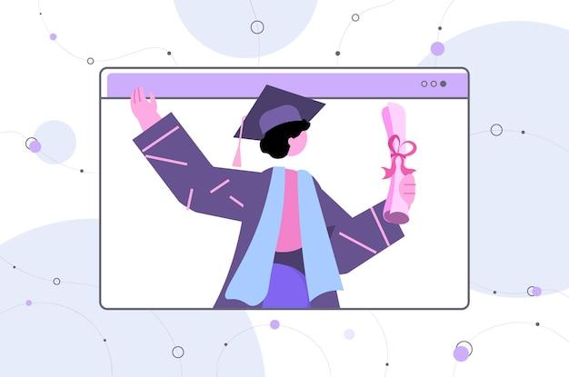 Weibliche absolventin frau absolventin feiert akademisches diplom ausbildung universitätszertifikat konzept horizontales porträt