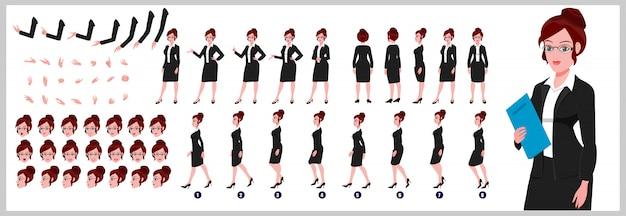 Weibliche anwältin charakter-modellblatt mit laufzyklusanimationen und lippensynchronisation