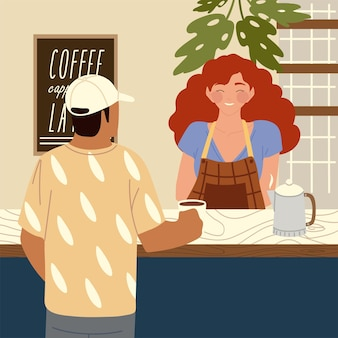 Weibliche barista und cafe kunden cartoon charaktere illustration