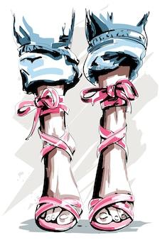 Weibliche beine in schuhen mit gekräuselten jeans