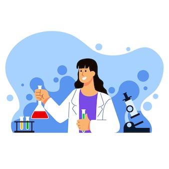 Weibliche biologie-wissenschaftlerin charakter illustration