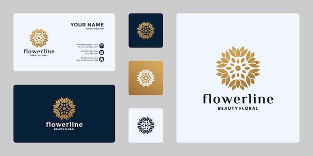 Weibliche blume, florales ornament-logo-design
