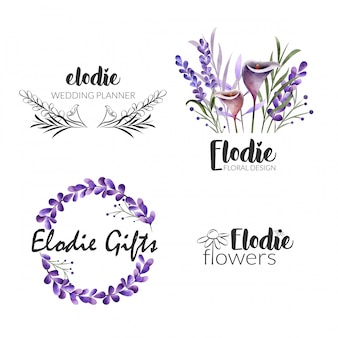 Weibliche blume logo collection