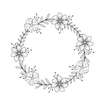 Weibliche blumen-floristen-hochzeits-linie kreis-rahmen-verzierung