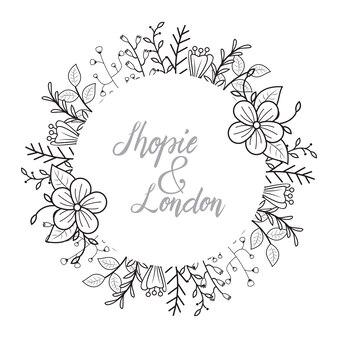 Weibliche blumen-floristen-hochzeits-linie rahmen-verzierung