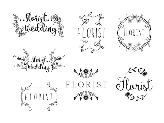 Weibliche blumen logo vorlagen florist hochzeitsplaner