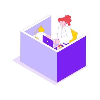 Weibliche büroangestellte an ihrem arbeitsplatz isometrische 3d-darstellung in hellen farben