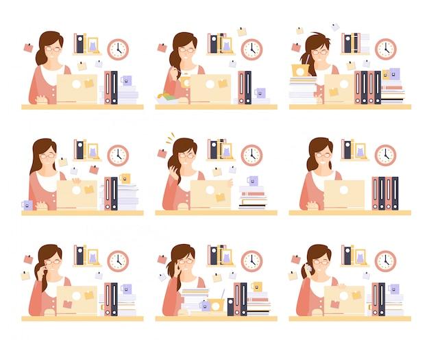 Weibliche büroangestellte in ihrem kabinenarbeitssatz von illustrationen