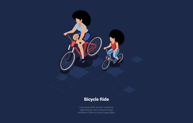 Weibliche charaktere, die zusammen fahrrad fahren. frau und kind verbringen aktiv zeit