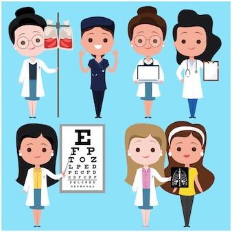 Weibliche charaktere doktor und patient