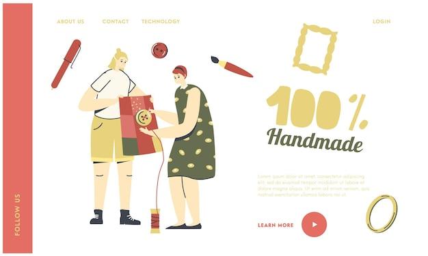 Weibliche charaktere handarbeiten, schneiderei hobby landing page template.
