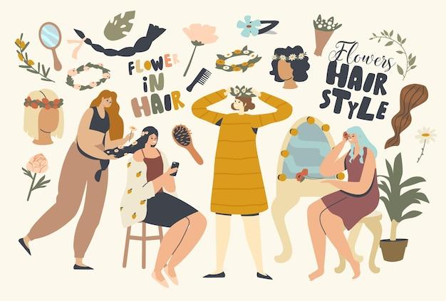 Weibliche charaktere schmücken das haar mit schönen blumen. frauen machen frisur mit blütenkränzen für hochzeit, urlaubsfeier im schönheitssalon und zu hause. cartoon-menschen-vektor-illustration