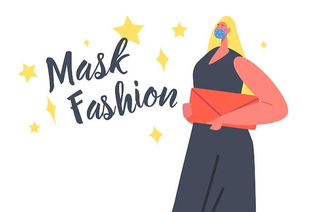 Weibliche charakterfrau, die ein trendiges kleid und eine tasche trägt, die während des coronavirus-ausbruchs maskenmode präsentiert. modell gekleidet in schützende stilvolle handgemachte gesichtsmaske mit aufdruck. cartoon-vektor-illustration
