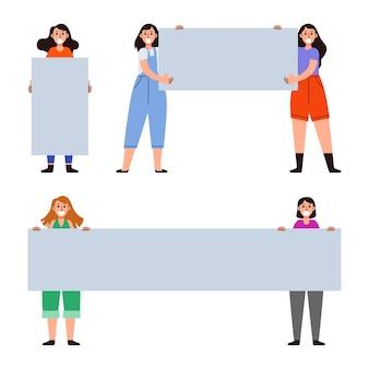 Weibliche demonstrantin bringen leere banner sammlung set