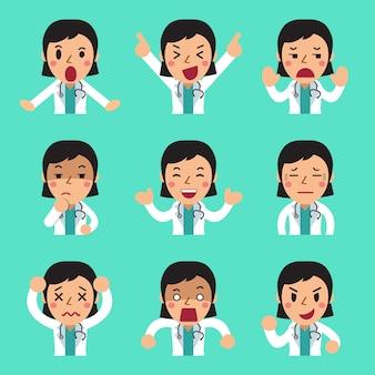 Weibliche doktorfrauen der karikatur, die verschiedene gefühle zeigen