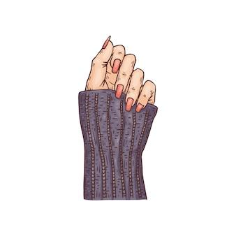Weibliche elegante hand mit nägeln bedeckt mit roter emaille, skizzierte handgezeichnete vektorillustration lokalisiert auf weißer oberfläche