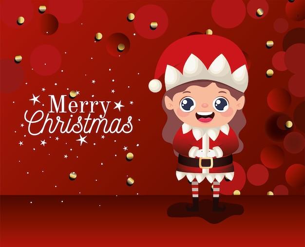 Weibliche elfe mit frohen weihnachtsbeschriftungen auf roter hintergrundillustration