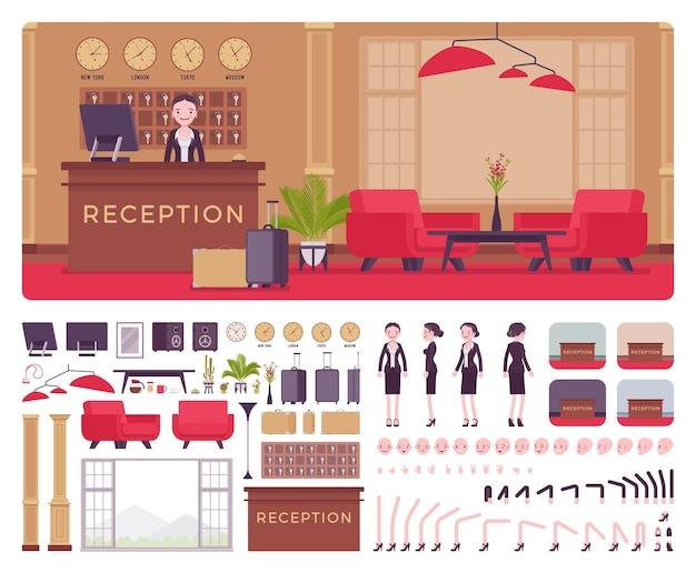 Weibliche empfangsdame des hotels im innenraum des lobbyarbeitsplatzes