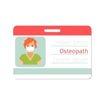 Weibliche facharzt-ausweisschablone des osteopathen
