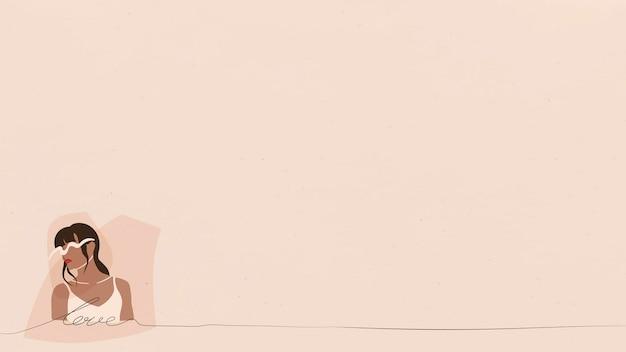Weibliche fashionista auf beigefarbenem banner