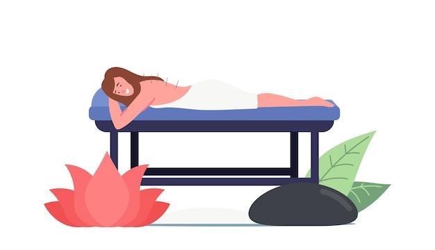 Weibliche figur auf der couch liegend mit nadeln im rücken, die akupunkturtherapie anwenden. formular für alternative medizin. traditionelle chinesische medizin zur vorbeugung von krankheiten. cartoon-vektor-illustration