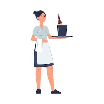 Weibliche figur der kellnerin, die champagner im eimer dient, flache illustration auf weiß