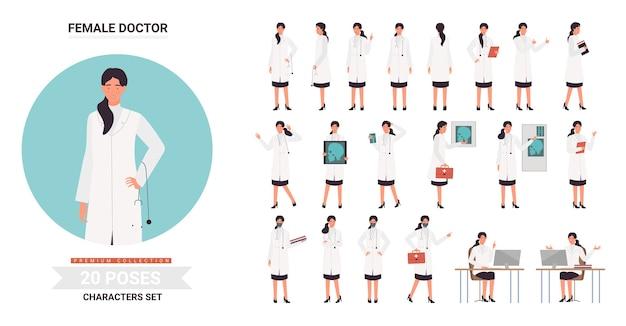 Weibliche figur des doktors oder der krankenschwester stellt illustrationssatz auf.