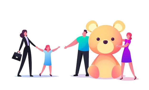 Weibliche figur des sozialarbeiters, die waisenkind zu neuen eltern mit großem weichem bärengeschenk bringt.