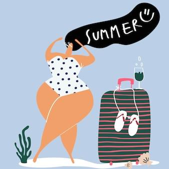 Weibliche figur, die den sommerzeitvektor genießt