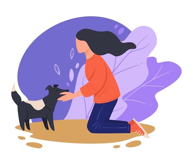Weibliche figur, die draußen streunenden hund umarmt, isolierte frau mit haustier, die sich um haustier kümmert