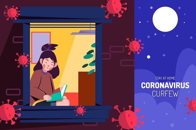 Weibliche figur, die eine ausgangssperre des buches coronavirus liest