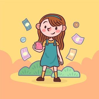Weibliche figur, die eine tüte münzen hält