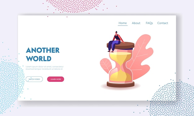 Weibliche figur in escape room conundrum landing page template.