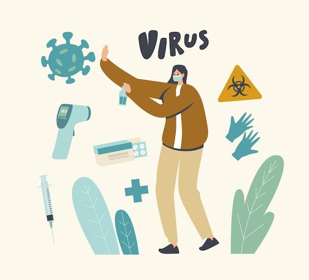 Weibliche figur in medizinischer maske mit desinfektionsmittel in der hand show stop geste zu riesigen viruszellen, die vor krankheit und mikrobenkrankheit schützen