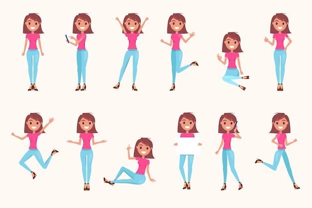Weibliche figur in verschiedenen posen