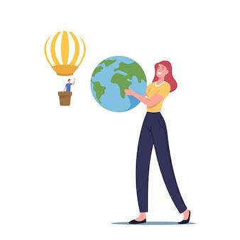 Weibliche figur mit erdkugel in händen, mann fliegt auf luftballon, isolated on white background. speichern sie das ökologische konzept des planeten, der biosphäre und des ökosystems. cartoon-menschen-vektor-illustration