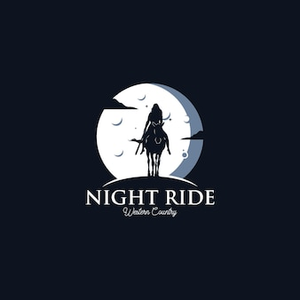 Weibliche frau cowboy reitpferd silhouette bei nacht