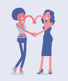 Weibliche freundschaft hand herz geste. glückliche junge mädchen genießen spaß, begleiter, enge freunde in romantischer, guter beziehung, lächelnde freundinnen zusammen. vektor-flache cartoon-illustration