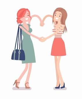 Weibliche freundschaft hand herzgeste