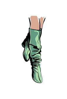 Weibliche füße in hohen stiefeln modeillustration