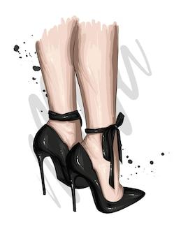 Weibliche füße in stilvollen hochhackigen schuhen