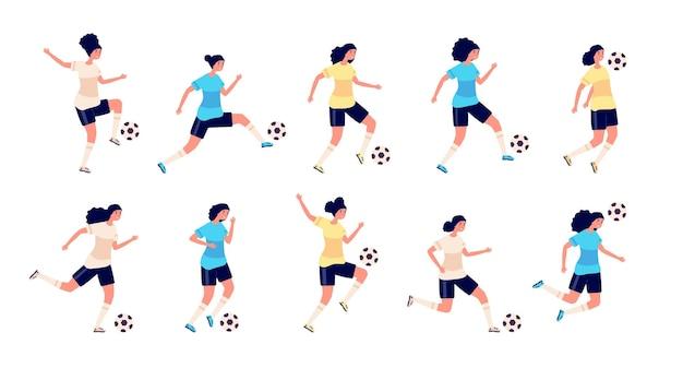 Weibliche fußballspieler. isolierte sportler. frauenfußballmannschaft, niedliche aktive person. training für mädchenfiguren im uniformset. fußballspielerin, die in der spieltrainingsillustration spielt