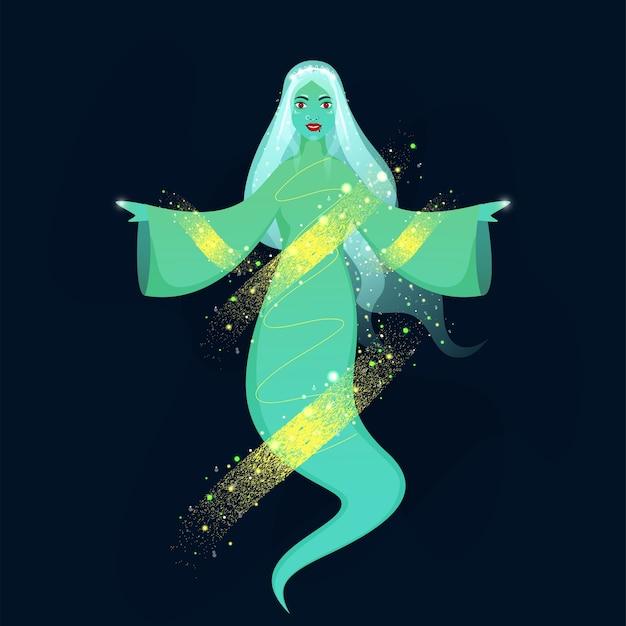 Weibliche geisterfigur mit gelbem pinselrauscheffekt und lichteffekt auf blauem hintergrund.