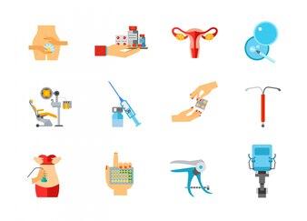 Weibliche Gesundheit Icon-Set
