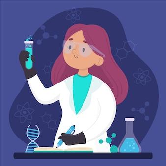 Weibliche gezeichnete illustration des wissenschaftlers hand