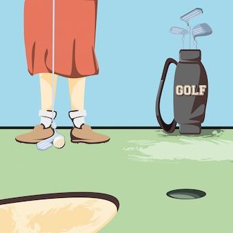 Weibliche golfspielerfüße auf golfplatz