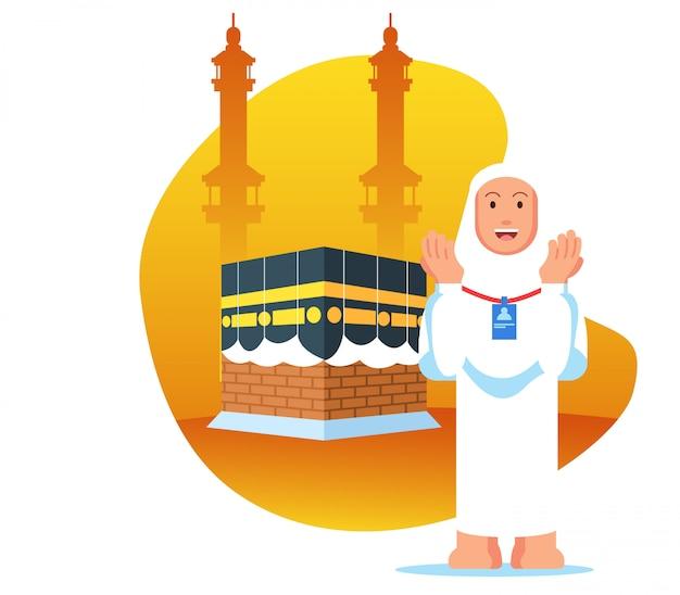 Weibliche hadsch-pilgerfahrt beten in der nähe von kaaba