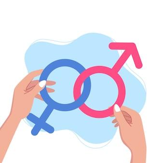 Weibliche hände halten geschlechtssymbole. geschlechtsnormenkonzept, vektorillustration