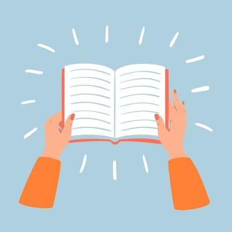 Weibliche hände halten offenes buch. geschäfts-, bildungs-, literatur-, lese- und bibliothekskonzept.