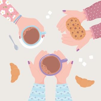 Weibliche hände mit kaffeetassenplätzchen und croissant, frische heißgetränkeillustration der draufsicht